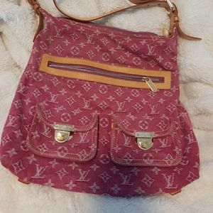 Louis Vuitton GM Pink Fushia Denim Monogram Baggy
